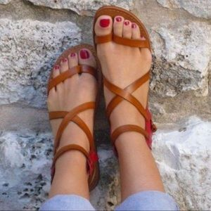 Shoes - Brown strappy slip on women's leather sandals
